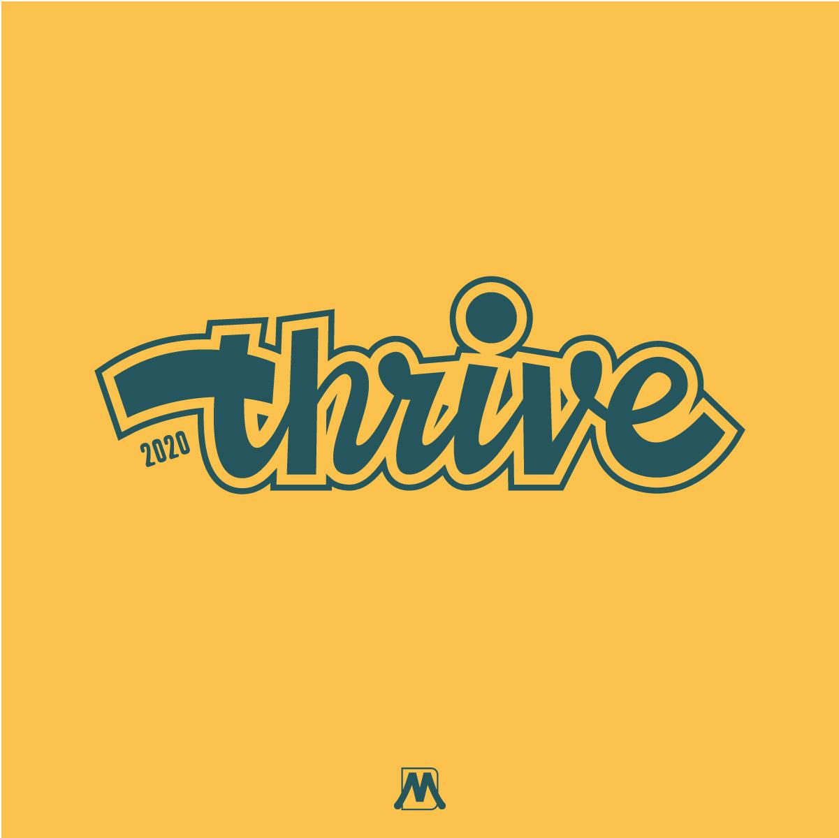 Thrive hand lettered logo design